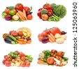 fresh vegetables - collage - stock photo