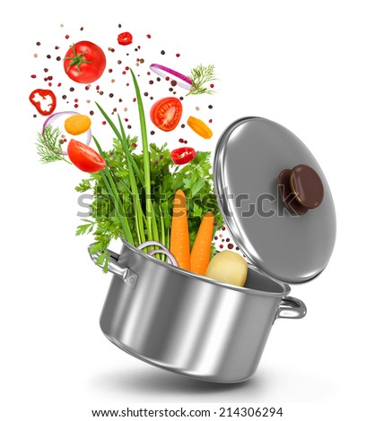fresh vegetables flying in a pot on an isolated white background - stock photo