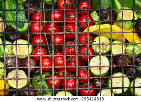 Fresh vegetables for grilling, picnic in summer outdoors,  top view - stock photo