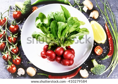 Fresh vegetables for healthy cooking. Healthy eating and diet concept - stock photo