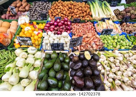 Fresh Vegetables for sale at Vienna Naschmarkt food market - stock photo
