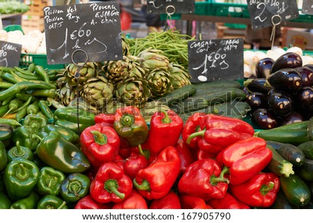 Fresh vegetables for sale on market stall in Aix en Provnece, France - stock photo