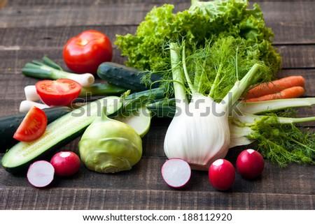 fresh vegetables for tasty salad - stock photo