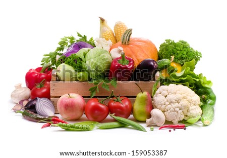 Fresh vegetables, fruit and spicy herbs  isolated on white background
