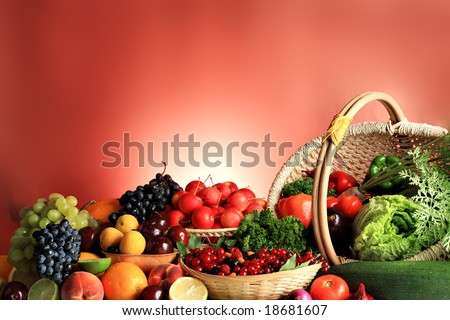 Fresh Vegetables, Fruits and other foodstuffs. Huge collection - stock photo