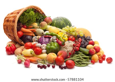 Fresh Vegetables, Fruits and other foodstuffs. Isolated. - stock photo