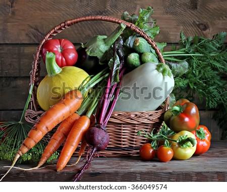 Fresh vegetables in a basket: pepper, tomato, cherry tomato, beet, carrots, vegetable marrow, pumpkin, cucumber, eggplant, fennel. - stock photo