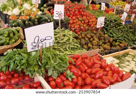 Fresh vegetables in a market in Italy - stock photo