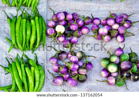 Fresh vegetables in Asian traditional market - stock photo