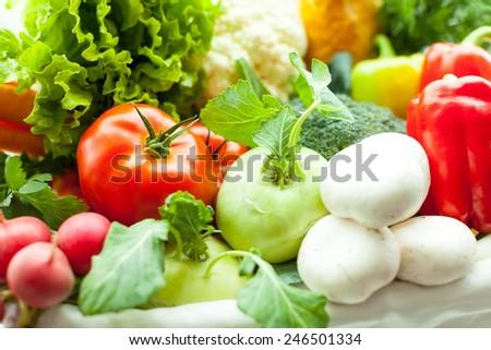 Fresh vegetables in basket - stock photo