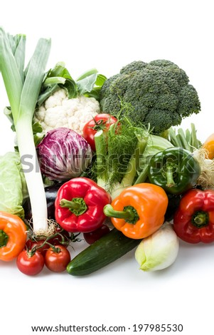 fresh vegetables in different variations