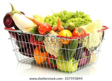 Fresh vegetables in metal  basket isolated on white