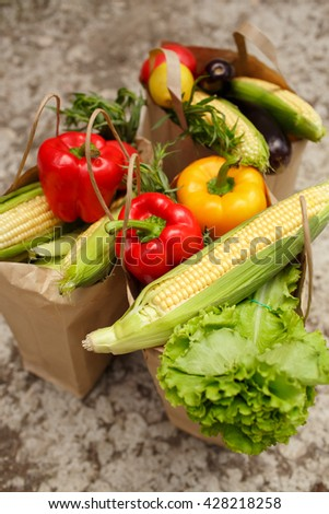 Fresh vegetables in shopping bag organic food summer outdoors closeup, selective focus, series
