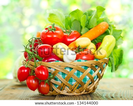 Fresh vegetables in the basket - stock photo