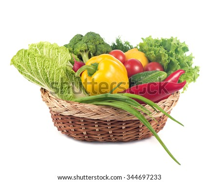 fresh  vegetables in the basket isolated on white background