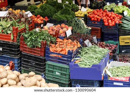 Fresh vegetables in the market. - stock photo
