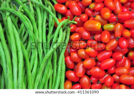 Fresh vegetables in the street markets of Asia