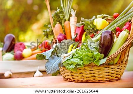 Fresh vegetables in wicker basket  - stock photo
