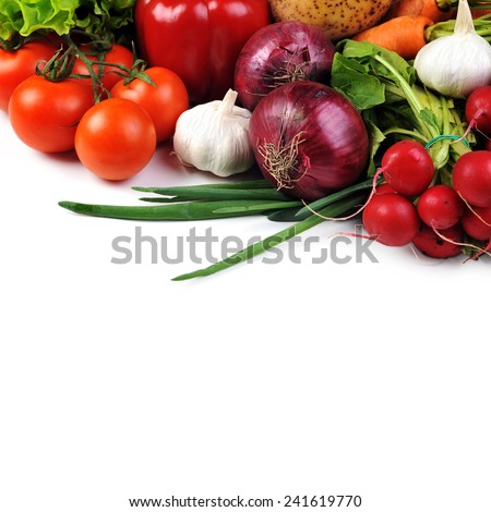 fresh vegetables. Included are  tomatoes, carrots,radish, cucumber,  potato, onions and garlic - stock photo