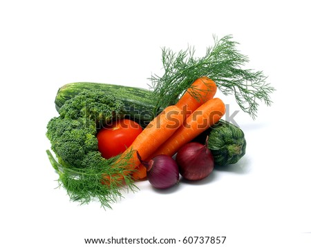 Fresh vegetables isolated on the white background - stock photo