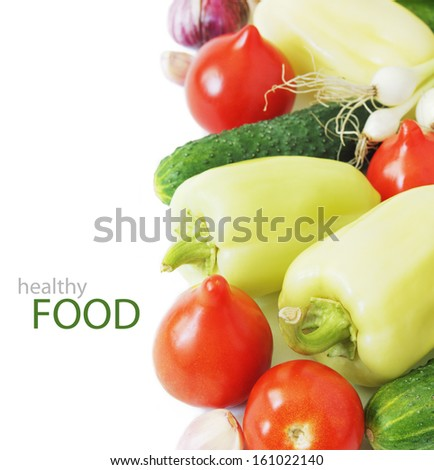 Fresh vegetables isolated on the white background. Healthy eating concept. Vegetarian concept
