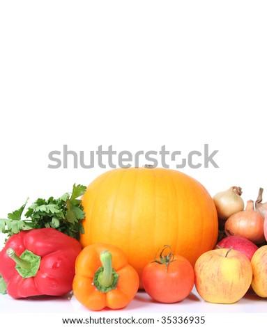 fresh vegetables isolated on white - stock photo