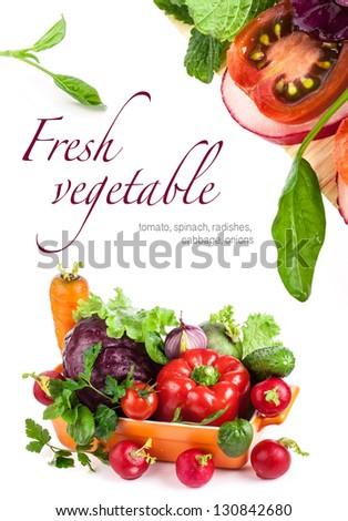 Fresh vegetables isolated on white background - stock photo