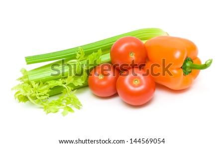 Fresh vegetables isolated on white background - horizontal photo. - stock photo