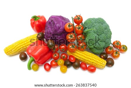 fresh vegetables isolated on white background. horizontal photo. - stock photo