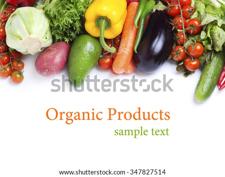 fresh vegetables isolated white background
