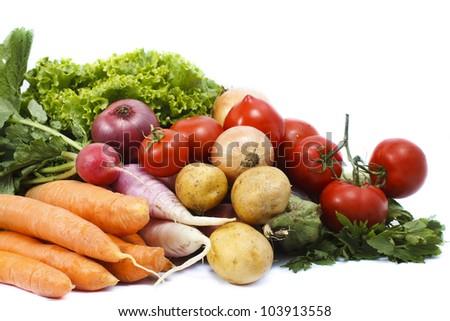 Fresh vegetables: lettuce, carrot, tomato, radish, potato - isolated on white - stock photo