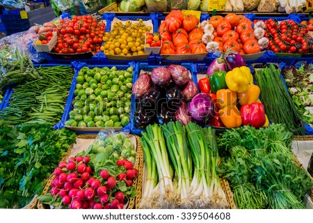Fresh vegetables market.   farmers market - stock photo