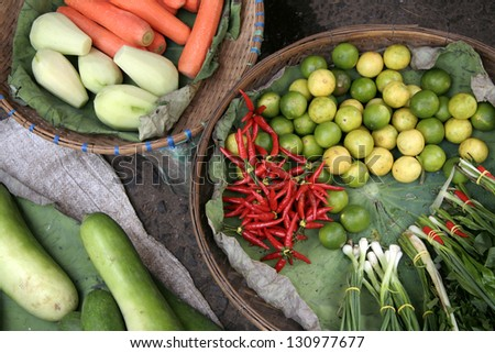 Fresh vegetables on a market, Cambodia.