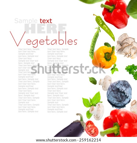 fresh vegetables  on a white background - stock photo