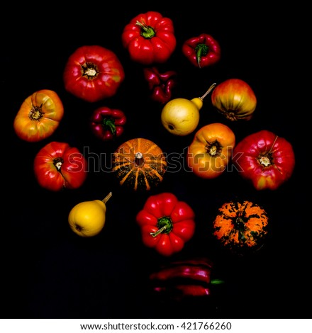 Fresh vegetables on black background. Vegetarian food and healthy lifestyle. Healthy vegetarian detox concept. Fresh and healthy nutrition. Low key