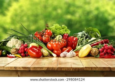 fresh vegetables on desk in garden  - stock photo