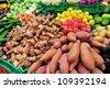 Fresh vegetables on display in market stall in Mahane Yehuda market, Israel. - stock photo