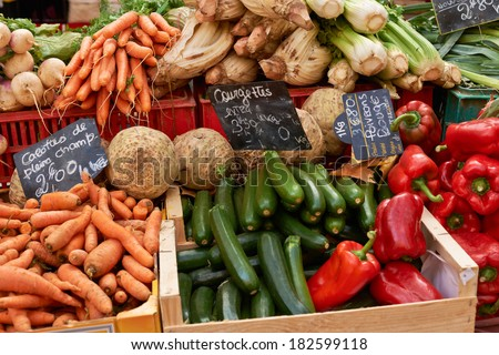 Fresh vegetables on market stall of Provence, South France, luberon region - stock photo