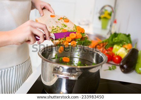 Fresh vegetables on the cutting board are falling in the pot, concept of cooking - stock photo