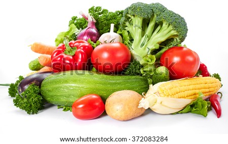 fresh vegetables on the white - stock photo