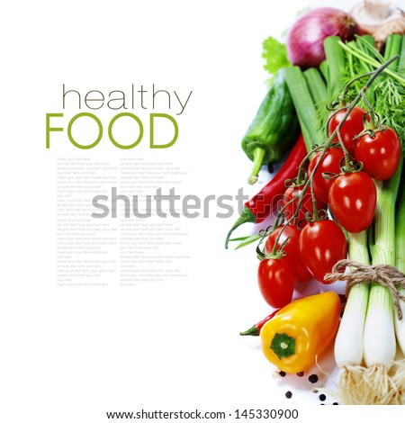 fresh vegetables on the white background - healthy or vegetarian eating concept (with easy removable sample text) - stock photo