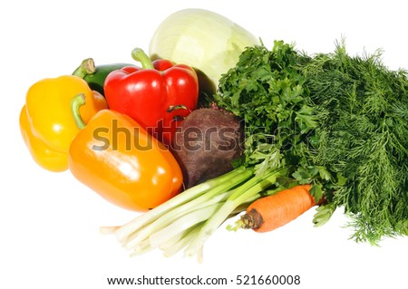 Fresh vegetables on the white background, texture