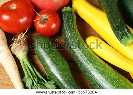 Fresh vegetables on the wooden board. Abundant crop