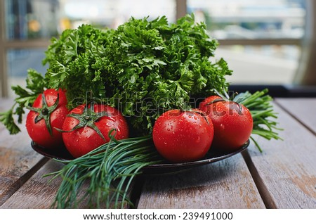 fresh vegetables on the wooden table - stock photo