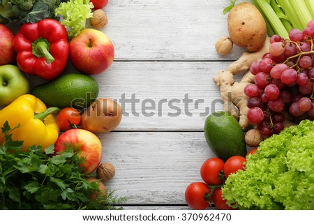 fresh vegetables on white boards, food top view - stock photo