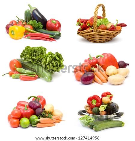 fresh vegetables on white - collage - stock photo