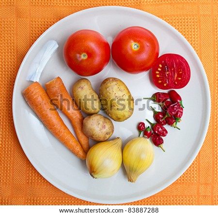 fresh vegetables on white plate