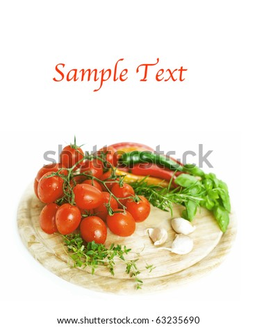 fresh vegetables  on wooden board and example text