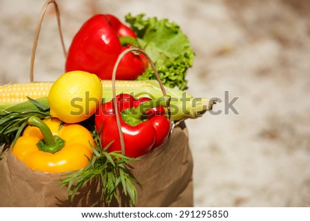 Fresh vegetables organic food, various colorful raw vegetables, Fresh Bio Vegetable in  package Over Nature Background, organic corn, pepper and green salad, healthy eating, selective focus - stock photo