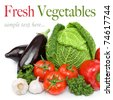 Fresh vegetables, pepper, cabbage, garlic, mushrooms, aubergine, parsley - stock photo